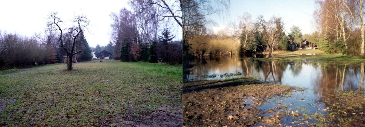 Grundstück, trocken bzw. überflutet